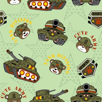 Seamless pattern vector with military equipment and funny soldiers head