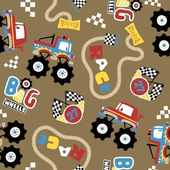 モンスタートラックレースの漫画とシームレスなパターンのベクトル