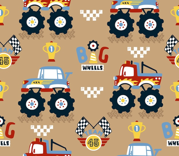 Seamless pattern vector with monster trucks racing cartoon competition