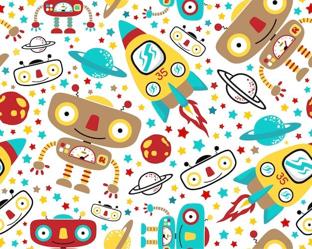 Seamless pattern vector with outer space robot cartoon