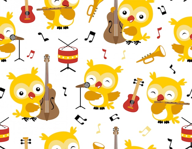 Seamless pattern vector with owl cartoon