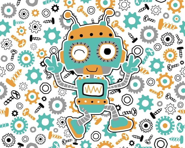 Seamless pattern vector with robot cartoon