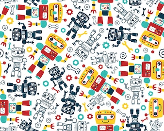 Seamless pattern vector with robots cartoon