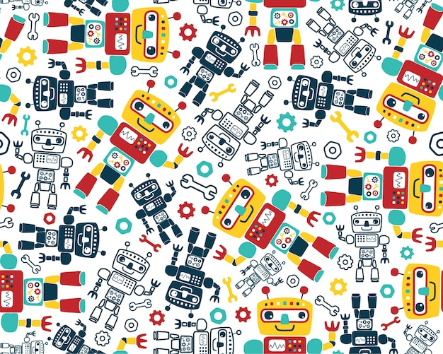 Seamless pattern vector with robots cartoon