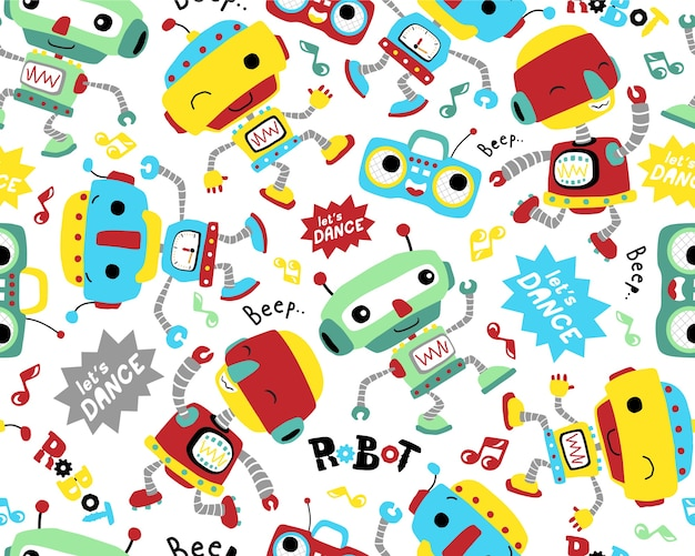 Seamless pattern vector with robots dance cartoon