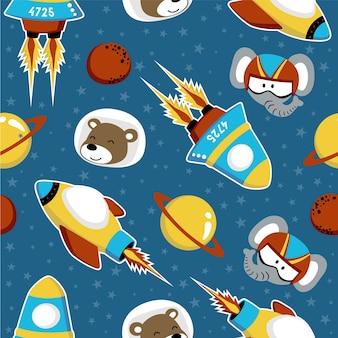 宇宙船と面白い動物の宇宙飛行士とシームレスなパターンベクトル