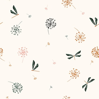 Seamless pattern vector  with  wind blow flowers vector