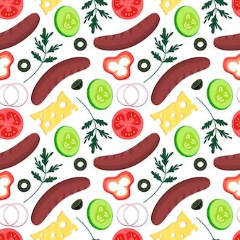 원활한 패턴 야채 음식 소시지와 치즈 양파 파프리카 오이 파슬리 올리브