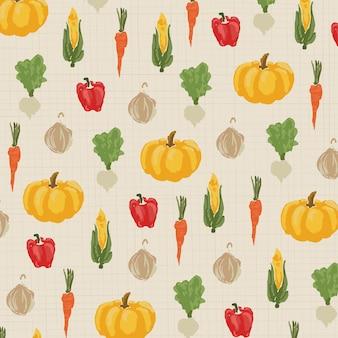 ビンテージスタイルのシームレスパターン野菜。