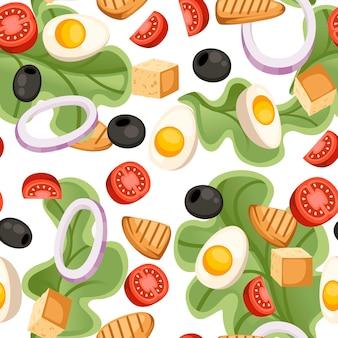シームレスパターン。野菜サラダのレシピ。シーザーサラダの材料。新鮮な野菜の漫画のデザイン食品。白い背景の上の平らなイラスト。
