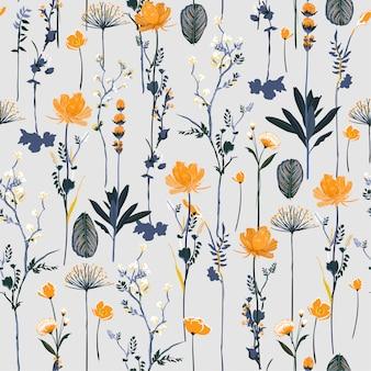 シームレスパターン垂直反復ベクトルでソフトで穏やかな植物の咲く庭の花のデザイン
