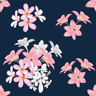 Seamless pattern vintage background with hand draw floral frangipani and lily flowers