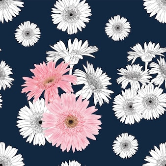 Seamless pattern vintage background with hand draw floral gerbera flowers