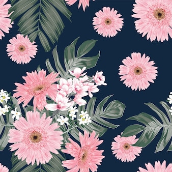 Seamless pattern vintage background with hand draw floral gerbera and orchid flowers
