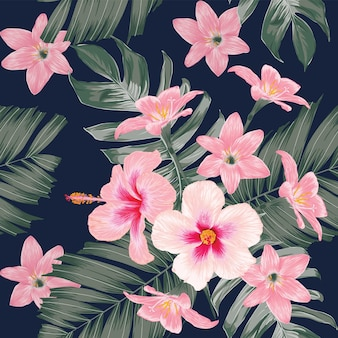 手描きの花のハイビスカスとユリの花とシームレスなパターンのヴィンテージの背景