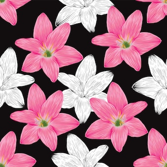 Seamless pattern vintage background with hand draw floral lily flowers