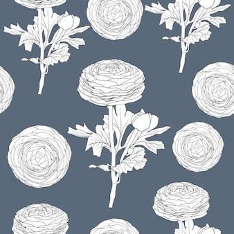 手で描く花のペルシャキンポウゲの花とシームレスなパターンのヴィンテージの背景 Premiumベクター