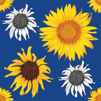Seamless pattern vintage background with hand draw floral sunflower flowers