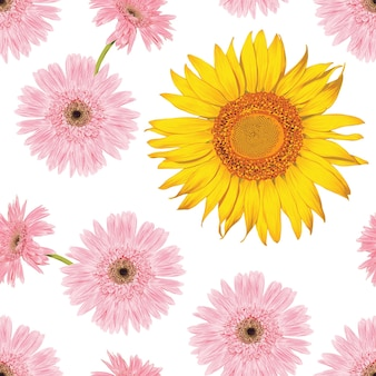 Seamless pattern vintage background with hand draw floral sunflower and gerbera flowers