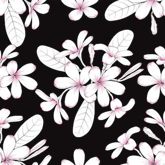 手描きの花のフランジパニの花とシームレスなパターンのヴィンテージの背景 Premiumベクター