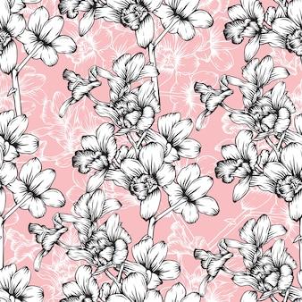 手描きの花の蘭の花とシームレスなパターンのヴィンテージの背景