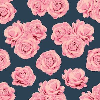 手描きの花のバラの花とシームレスなパターンのヴィンテージの背景