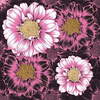 手描きの花の百日草の花とシームレスなパターンのヴィンテージの背景