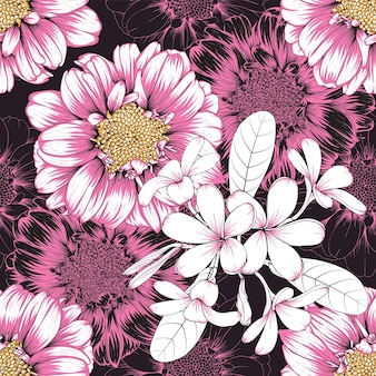 Seamless pattern vintage background with hand drawn floral zinnia and frangipani flowers