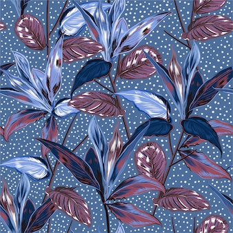 Seamless pattern  vintage botanical plants and wild forest