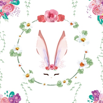 Seamless pattern vintage bunny in floral.