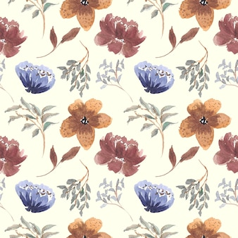 Seamless pattern of vintage floral watercolor