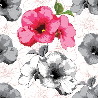 Seamless pattern vintage flowers on white bacground.