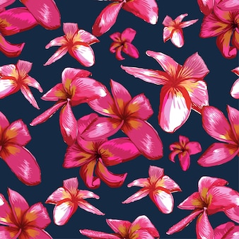 Seamless pattern vintage frangipani flowers on dark blue bacground.