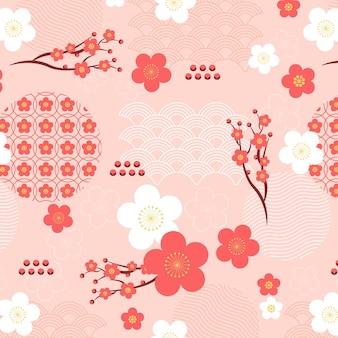 シームレスパターンヴィンテージ幾何学的な梅の花
