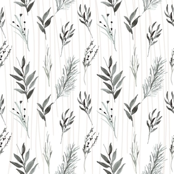 Seamless pattern vintage leaf with watercolor