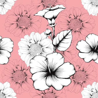 Seamless pattern vintage lilly and hibiscus flowers abstract pink pastel background