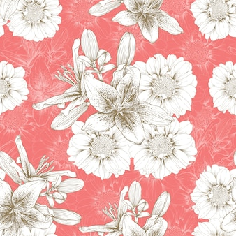 Seamless pattern vintage lilly and zinnia flowers abstract background.