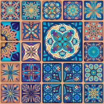Seamless pattern. Vintage patchwork tile decorative elements.