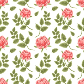 Seamless pattern of vintage peach peony and leaf branch