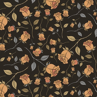 Seamless pattern of vintage roses on a black background.