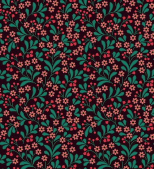Seamless pattern in vintage style. embroidered flowers.