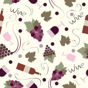 シームレスパターンヴィンテージ-ワインとワイン醸造のベクトルセット