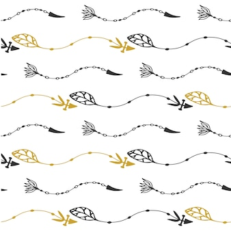 Seamless pattern of vintage wave arrows in black and gold colors. hand drawn floral arrows vector in tribal style.