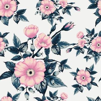 Seamless pattern vintage wild rose flower.