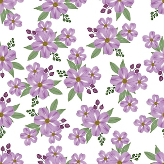 Seamless pattern of violet flower for fabric design