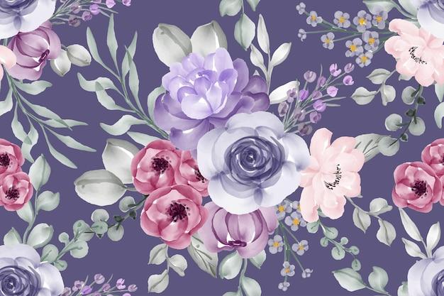 Seamless pattern violet watercolor flower