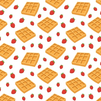 Seamless pattern waffles and blueberries