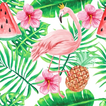 Seamless pattern wallpaper beautiful tropical watercolor flowers summer