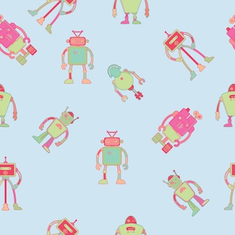Seamless pattern wallpaper design with robots