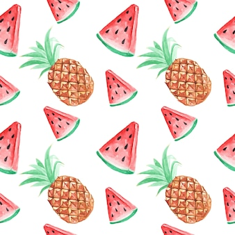Seamless pattern wallpaper watermelon and pineapple tropical watercolor summer